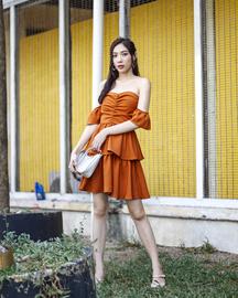 JOSELLE BARDOT TIERED DRESS (PUMPKIN)