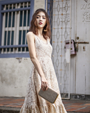 AMELIA FLARE MIDI DRESS (BEIGE LACE)