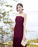 GABRIELLE MERMAID HEM TUBE DRESS (WINE)